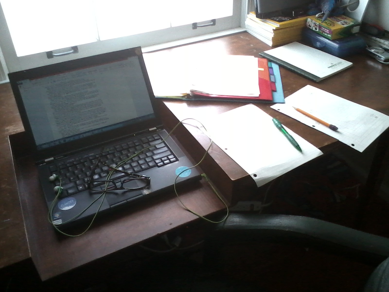 A picture of the writing space I used today.