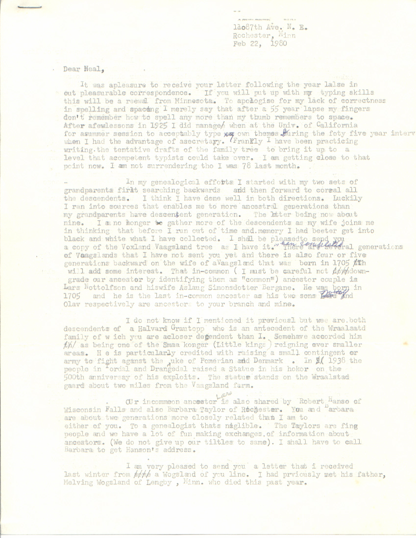 Letter Address Format Norway  Neal Wogsland Melvin Voxland Correspondence  Ergo Departure Was Taken From The Usual Policy And Some Editting Done This  Rather